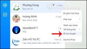 Cách ẩn trò chuyện trên Zalo PC